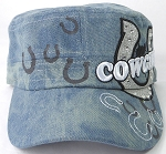 Wholesale Rhinestone Cowgirl Bling Cadet Hats - Light Splash Denim