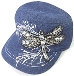 Wholesale Rhinestone Cadet Cap - Dragonfly - Dark Denim