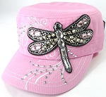 Wholesale Rhinestone Cadet Cap - Dragonfly - Light Pink