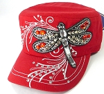 Wholesale Rhinestone Cadet Cap - Dragonfly - Red