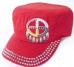 Wholesale Rhinestone Native Pride Cap - Medicine Wheel - Red