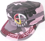 Wholesale Rhinestone Native Pride Cap - Medicine Wheel - Pink Camo