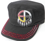 Wholesale Rhinestone Native Pride Cap - Medicine Wheel - Black