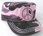 Wholesale Rhinestone Cadet Caps - Pink Peace Sign - Pink Camo