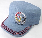 Wholesale Rhinestone Native Pride Cap - Medicine Wheel - Light Denim