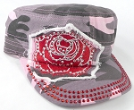 Wholesale Rhinestone Cadet Caps - Rose Distressed Patch - Pink Camo