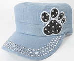 Wholesale Rhinestone Castro Caps - Black Paw - Light Stone