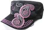 Wholesale Rhinestone Cadet Hats - Paisley - Black
