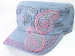 Wholesale Rhinestone Cadet Hats - Paisley - Light Denim