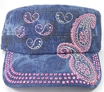 Wholesale Rhinestone Cadet Hats - Paisley - Splash Dark Denim