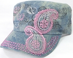Wholesale Rhinestone Cadet Hats - Paisley - Splash Light Denim