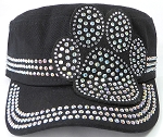 Wholesale Rhinestone Cadet Hats - Paw - Black