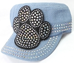Wholesale Rhinestone Cadet Hats - Paw - Light Denim