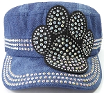 Wholesale Rhinestone Cadet Hats - Paw - Splash Dark Denim