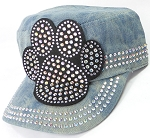 Wholesale Rhinestone Cadet Hats - Paw - Splash Light Denim
