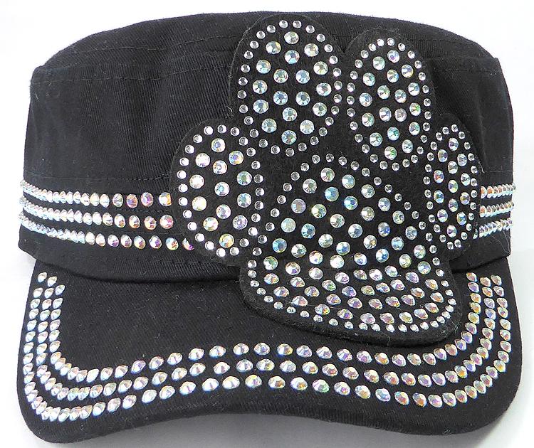 f3f6bd6d Wholesale Rhinestone Cadet Hats - Paw - Black