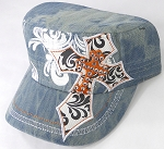 Wholesale Rhinestone Cadet Hats - Pointy Cross - L. Splash Denim