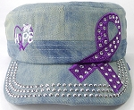 Wholesale Rhinestone Purple Ribbon Cadet Hat - Hope - Splash Light Denim