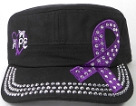 Wholesale Rhinestone Purple Ribbon Cadet Hat - Hope - Black