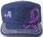 Wholesale Rhinestone Purple Ribbon Cadet Hat - Hope - Dark Denim