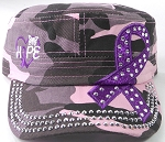 Wholesale Rhinestone Purple Ribbon Cadet Hat - Hope - Pink Camo