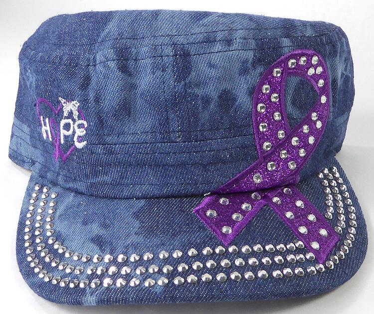 Wholesale Rhinestone Purple Ribbon Cadet Hat - Hope - Splash Dark Denim
