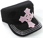 Wholesale Rhinestone Castro Cap - Pink Ring Cross - Black