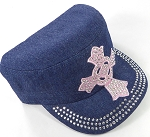 Wholesale Rhinestone Castro Cap - Pink Ring Cross - Dark Denim