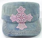 Wholesale Rhinestone Castro Cap - Pink Ring Cross - Splash Light Denim
