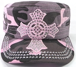 Wholesale Rhinestone Castro Cap - Pink Ring Cross - Pink Camo