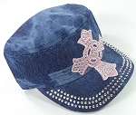 Wholesale Rhinestone Castro Cap - Pink Ring Cross - Splash Dark Denim