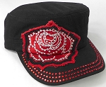 Wholesale Rhinestone Cadet Caps - Rose Distressed Patch - Black