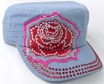 Wholesale Rhinestone Cadet Caps - Rose Distressed Patch - Light Denim