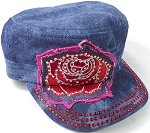 Wholesale Rhinestone Cadet Caps - Rose Distressed Patch - Dark Splash Denim