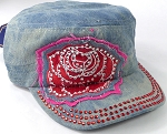 Wholesale Rhinestone Cadet Caps - Rose Distressed Patch - Light Splash Denim
