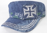 Wholesale Rhinestone Castro Caps - Classic Chopper - Splash Dark Denim