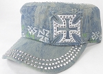 Wholesale Rhinestone Castro Caps - Classic Chopper - Splash Light Denim