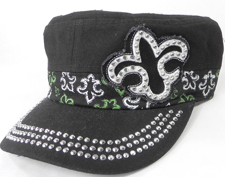 9b409aa7337 Wholesale Rhinestone Castro Caps - Classic Fleur de Lis - Black