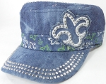Wholesale Rhinestone Castro Caps - Classic Fleur de Lis - Splash Dark Denim