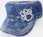 Wholesale Rhinestone Castro Caps - Classic Paw - Splash Dark Denim
