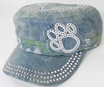 Wholesale Rhinestone Castro Caps - Classic Paw - Splash Light Denim
