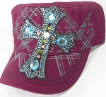 Wholesale Rhinestone Women's Cadet Hats - Turquoise Cross - Burgundy