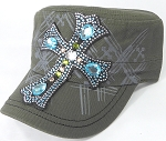 Wholesale Rhinestone Women's Cadet Hats - Turquoise Cross - Olive Green