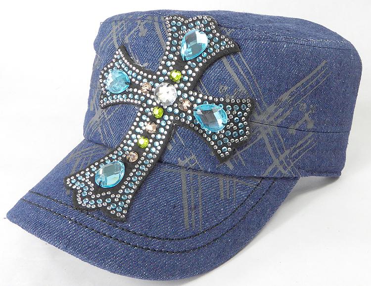 25c4fdfea14e4c Wholesale Rhinestone Women's Cadet Hats - Turquoise Cross - Dark Stone.  Rhinestone - Turquoise Cross