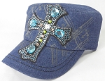 Wholesale Rhinestone Women's Cadet Hats - Turquoise Cross - Dark Stone