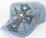 Wholesale Rhinestone Women's Cadet Hats - Turquoise Cross - Light Stone