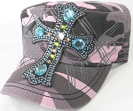 Wholesale Rhinestone Women's Cadet Hats - Turquoise Cross - Pink Camo