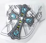 Wholesale Rhinestone Women's Cadet Hats - Turquoise Cross - White