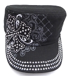 Wholesale Short Cross Cadet Rhinestone Hat - Black