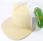 Wholesale Straw Mesh Trucker Snapback Hats - Beige - White Mesh